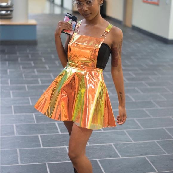 9e20f949040 Dolls Kill Dresses   Skirts - Overall dress metallic dolls kill orange gold